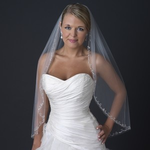 Elegance By Carbonneau Beaded Edge Ivory Fingertip Length Wedding Veil