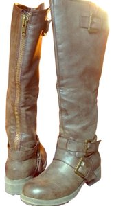 Madden Girl Zipper Riding Brown Boots
