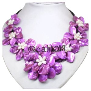 Other FLASH SALE THIS WEEKEND ONLY New Purple & White Authentic Mother of Pearl Shell Flower Independent Designer Necklace Choker Bib