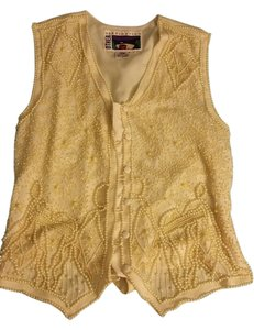 Destination Other Silk Pearl Beading Vest Button Down Shirt Cream