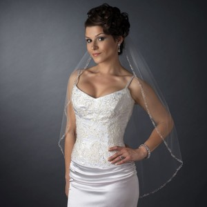 Elegance By Carbonneau White Beaded Edge Fingertip Wedding Veil
