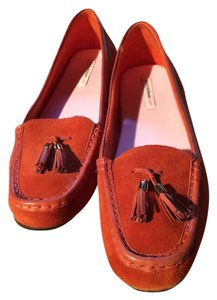 Isaac Mizrahi Loafers Leather Suede 10 Orange Flats