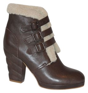See by Chloé Shearling Buckle Brown Boots