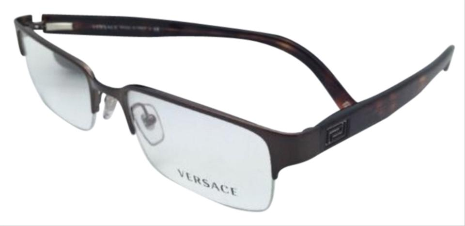 c90d7a0625e9 Versace New VERSACE Eyeglasses VE 1184 1269 53-18 Semi-Rimless Brown-Havana  ...
