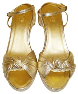 J.Crew gold Wedges
