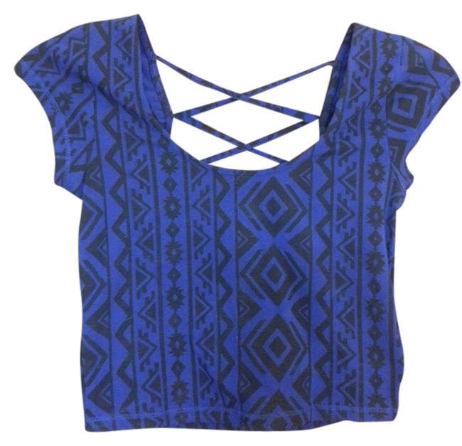 Forever 21 Crop Tribal Print Crisscross Strap Open Back Top