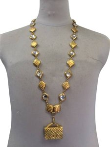 Chanel Chanel Matelasse Crystal and Gold Vintage Long Necklace