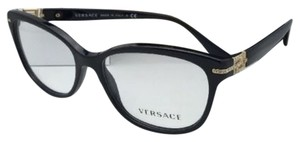 Versace New VERSACE Eyeglasses VE 3205-B GB1 54-16 Black & Gold Frame with Crystals