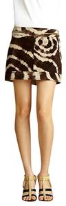 Rachel Roy Mini Skirt Tie-Dye Brown and Tan Suede