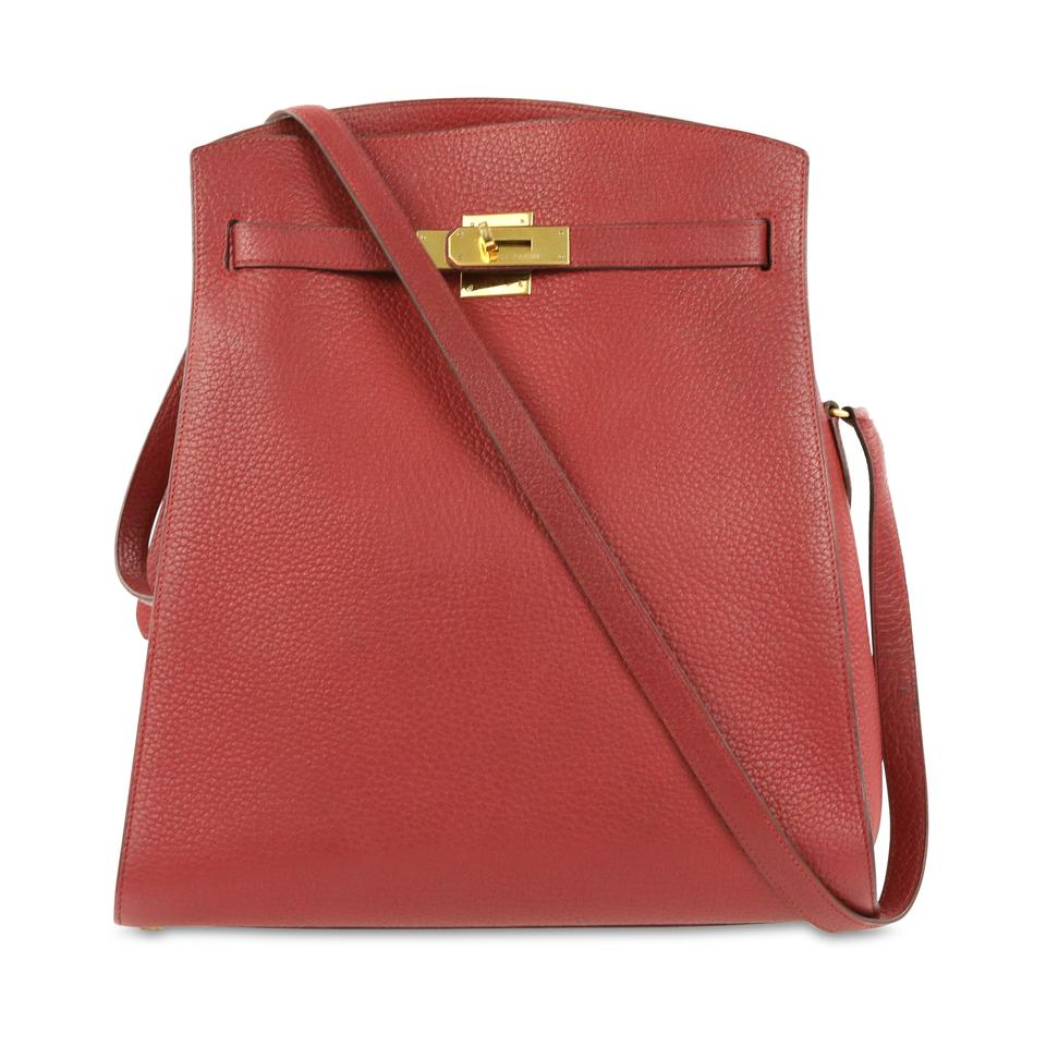 a9d9aef1f6 Hermès Kelly Clemence Sport Red Leather Shoulder Bag - Tradesy