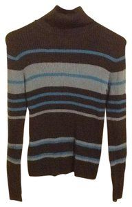 Rafaella Turtleneck Slim Fit Multi-colored Stripes Comfortable Simple Sweater