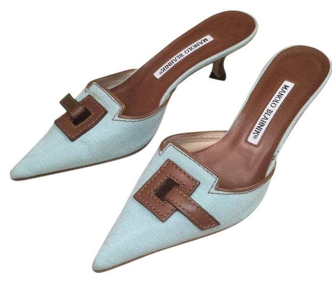Item - Sky Blue Mules/Slides Size US 6.5 Regular (M, B)