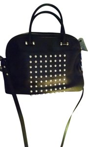 MILLY Detachable Strap Cross Body Strap Dustbag Satchel in Black Leather