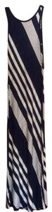 White and Navy Maxi Dress by Monteau Los Angeles Cotton Maxi Striped Tank Nautical