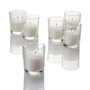 Clear 71 Votive Candle Holders with Candles Reception Decoration