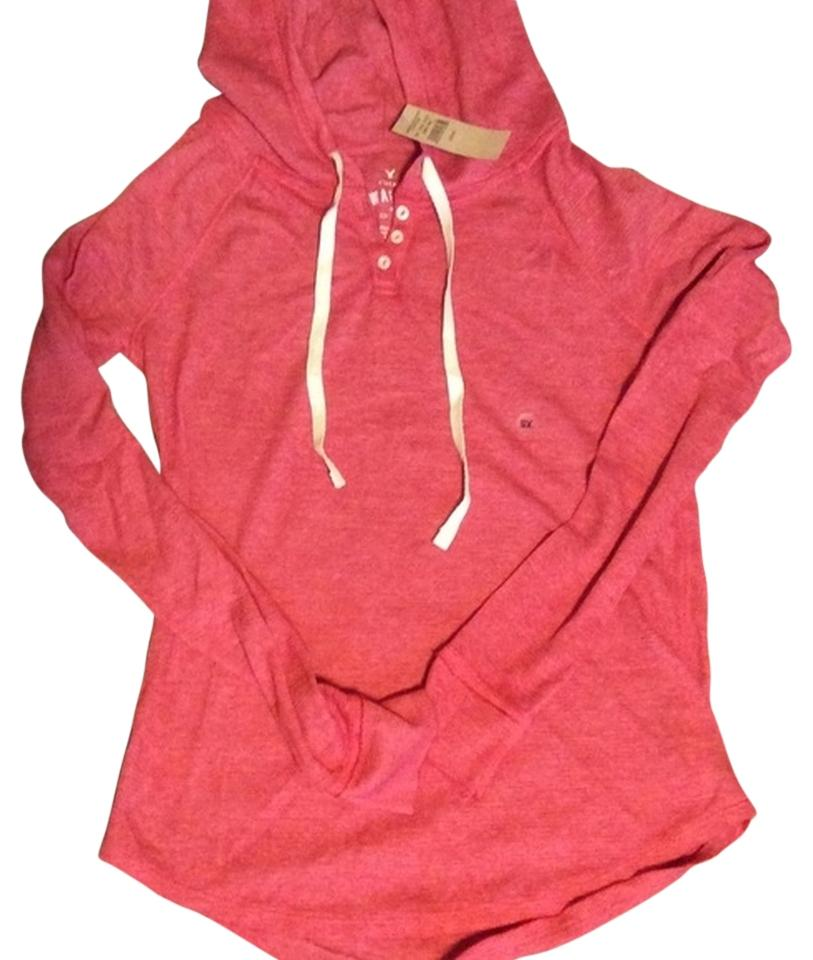 91b37793a39 American Eagle Outfitters Red Ae Waffle Knit Henley Sweatshirt Hoodie