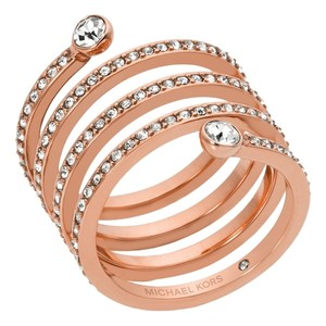 Michael Kors Rose Gold Tone Pave Spiral Coil Ring MKJ4724 Size 8