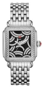 Michele NWT Art Deco SILVER Black Diamond Dial 0.96 ct. diamonds MWW06T000115
