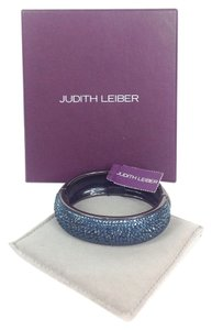 Judith Leiber Glitz Up Pave Crystal Hinged Bangle Bracelet, Blue