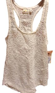 Mudd Crochet Lace Racerback Top Off White