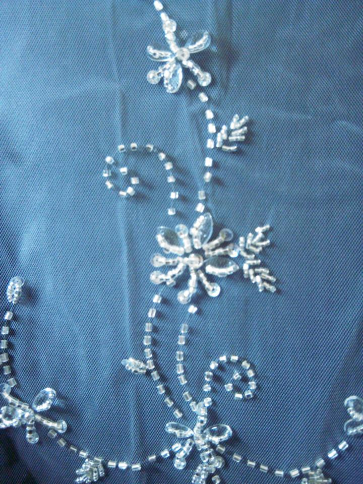 White Long Elegant Beaded Embroidery Cathedral Length In Bridal Veil
