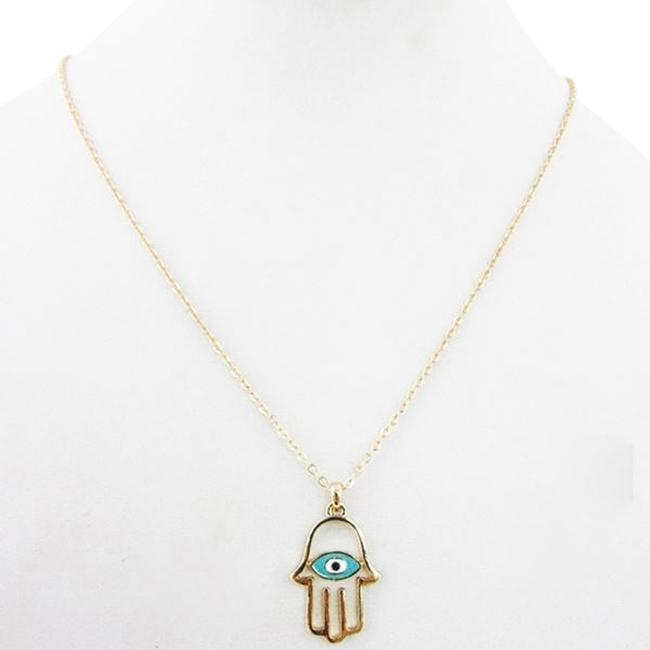 Item - Turquoise Delicate Hamsa Evil Eye Layering Necklace