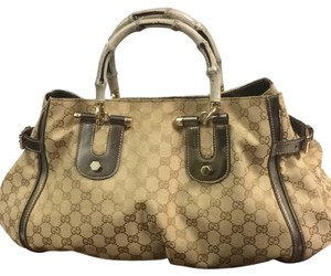 Gucci Satchel in Khaki And Silver