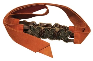 Alberta Ferretti Bright orange soft suede belt