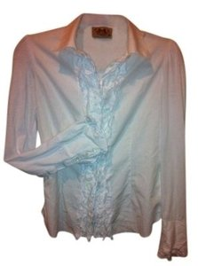 Juicy Couture Ruffle Front Woven And Knit Blouse 6 S Great Price Ruffle Blouse Shirt T-shirt Knit Woven Button-up 6 S Small Work Button Down Shirt White