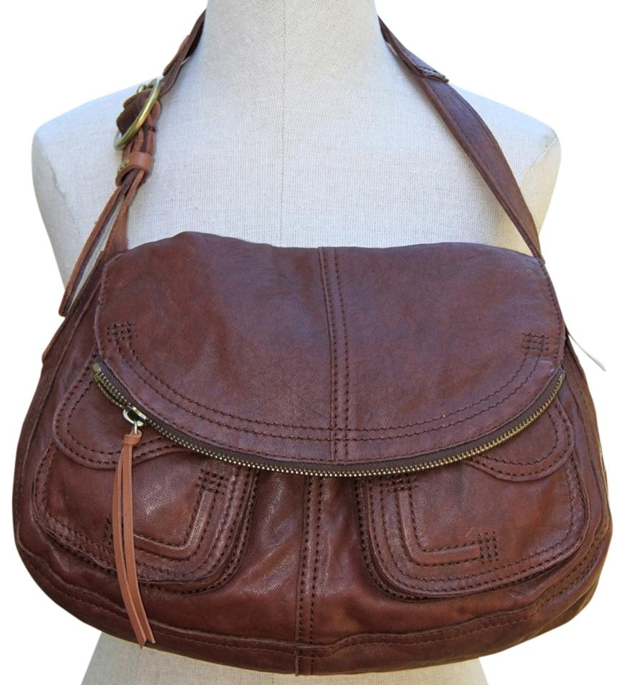Lucky Brand Dark Tan Leather Magnetic Closure Fold Front Hobo Bag