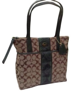 Coach Tote in Green/Tan