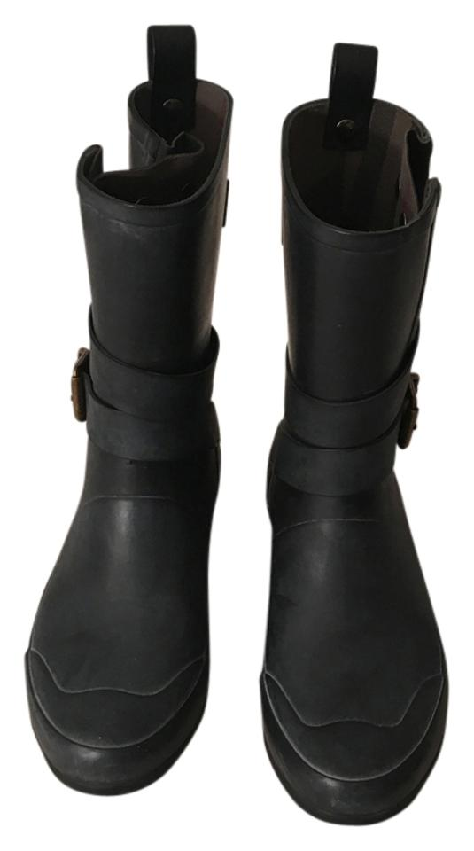 lady Burberry Strong Black Buckle Rain Boots/Booties Strong Burberry value 958fb8