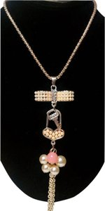 Betsey Johnson Betsey Johnson Bow Lock & Key With Pearl Necklace N357