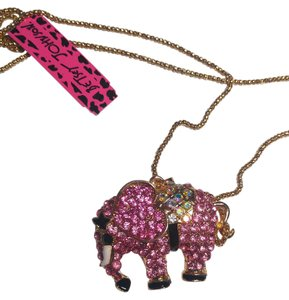 Betsey Johnson Betsey Johnson Pink & Black Elephant Necklace N358