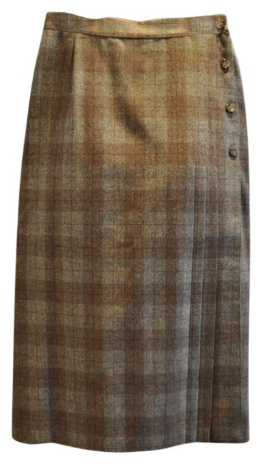Other 70's Wool Skirt Multi - taupe, rust, grey and off white