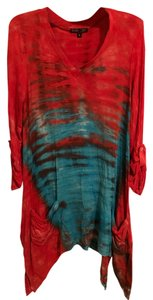 Boho Chic High-low Hem Relaxed Fit V-neck Like New Tunic