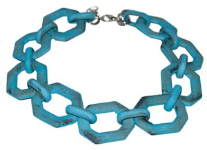 Alisha D. New Italian Chunky Link Necklace Turquoise
