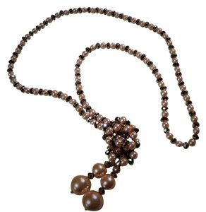 Other Pink Pearl with Grey Crystal beaded Wedding Necklace