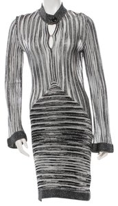 Missoni Metallic Silver Sheer Knit Longsleeve Dress