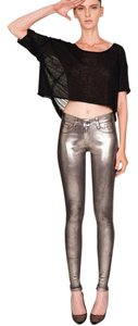 Bleulab Leather Suede Leather Leather Leggings Skinny Pants Gold