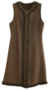 Saja short dress Brown Tweed Wool Blend Metallic Shift Marled on Tradesy