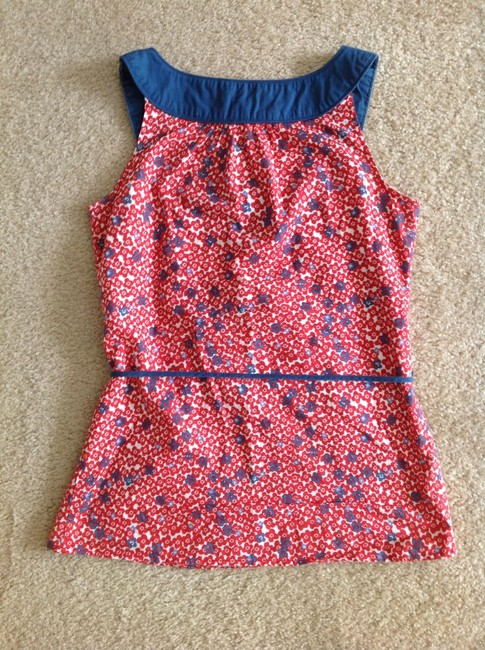 Forever 21 Cotton Top Red Blue Floral