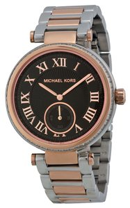 Michael Kors Michael Kors Black Dial Crystal Pave Silver and Rose Gold Stainless Steel Designer Watch