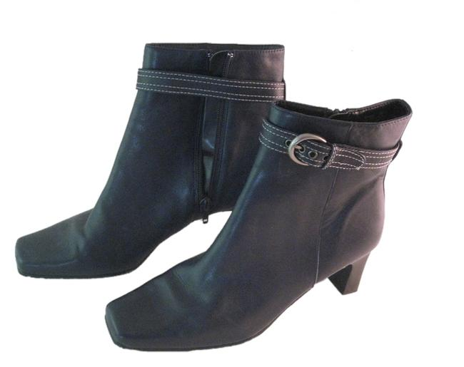 """Item - Navy Blue W Leather 2-1/2"""" Ankle W/ Detachable Buckled Strap Boots/Booties Size US 8 Regular (M, B)"""