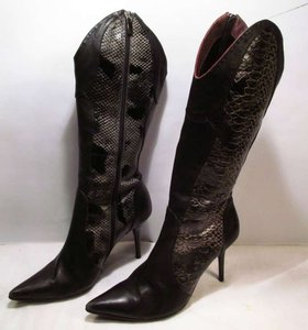 Le Silla Designer Knee High Stiletto Suede Leather Hot BLACK, snake Boots