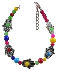 Other Hand of Fatima - Hamsa Hand with colored Jade Beads charm Bracelet