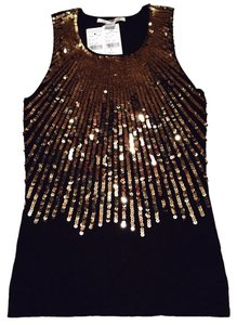 Alice + Olivia Sequin Gold Top Black