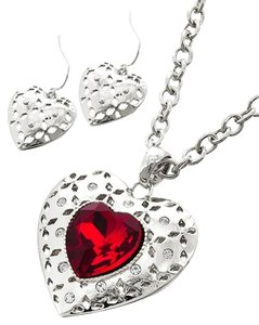 Silver Tone Red Glass & Clear Rhinestone Heart Pendant Necklace & Earring Set