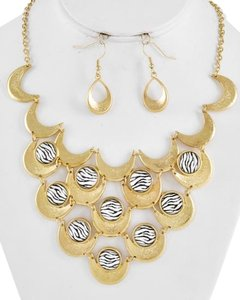 Encore Gold Tone Black Zebra Print Necklace & Fish Hook Earring Set