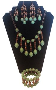 Other Seafoam and Bronze Necklace, Earrings and Bracelet Set